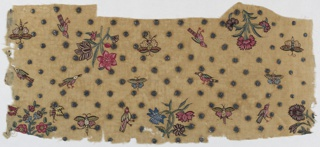 Cotton muslin with Mughal-style embroidery, mainly in chain stitch, showing detached floral sprays, birds and insects in colored silks and metallic thread.