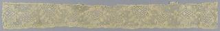 Band of bobbin peasant lace in a lozenge pattern.