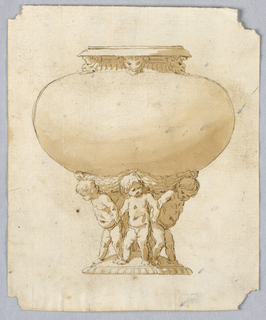 Design for a vase. The bowl is wide and smooth with three masks below rim. Supported by three putti below.