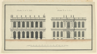 At left, garden elevation of a two-storied palace with seven bays in two ranges, and surmounted by a balustrade ornamented with urns and paired putti at the angles. At right, street elevation of the same building, with the portal and window over it featured by paired pilasters, carved panels of trophies and four urns breaking the roof balustrade.