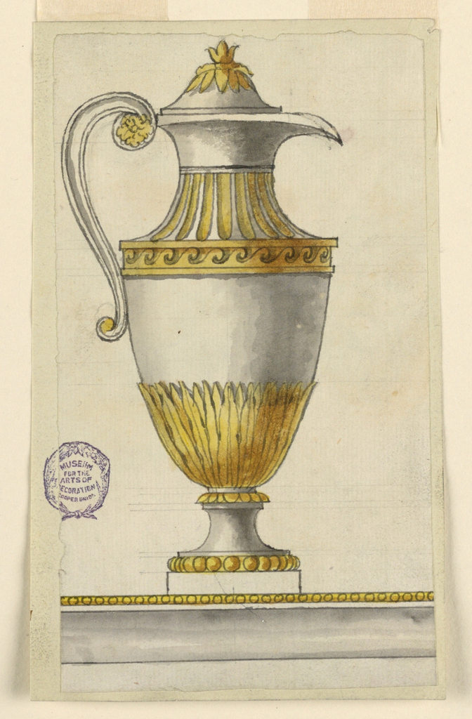 Design to be executed in partial gilt silver. Edge of the basin is shown, from which the ewer rises. Shown in profile with spout at right. Lower portion of the body decorated with leaves.