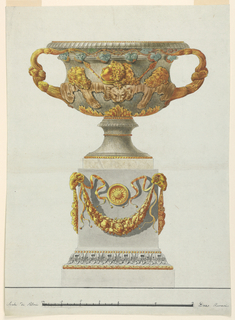 Scale: in pen and black ink, lower margin, in Palmi Romani. Design after the Warwick Vase.