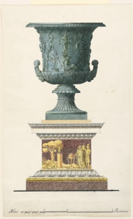 Vertical rectangle. Design for a vase intended to be produced in green bronze. Below is a pedestal, a cut-out relief with Iphigenia sacrificing to Diana in presence probably of Orestes and an old man; base line and scale at bottom.