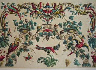 At top and sides is a border composed of scrolls, flowers, birds, and a Chinese mask flanked by dragons at top center. Inside is an arch composed of lattice work scrolls on which grape vines grow. Three birds on and under it. Tops of two plumes. Broken bordering line, bottom.