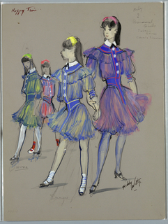 Vertical rectangle. Four young girls in short blue flounced dresses, ribbons in their hair.
