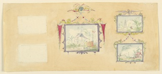 Horizontal rectangle. Design for the Royal Pavilion, Brighton. Elevation of wall similar to 1948-40-18, though not as complete. The two Chinese paintings at left are blank, the lower section of the wall is not included, nor is the section of the molding.  Original album associated with this collection still exists.  See 1948-40-1 accessory
