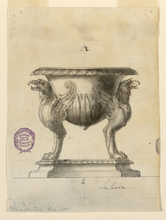 Elevation of a salt cellar. The octagonal base is stepped and beveled. Upon this are two eagle caryatids with paw feet and scrolling wings. Between them they support the vessel, decorated with leaves at the bottom and gadrooning at rim. The cup is a breast-shaped mastos form.