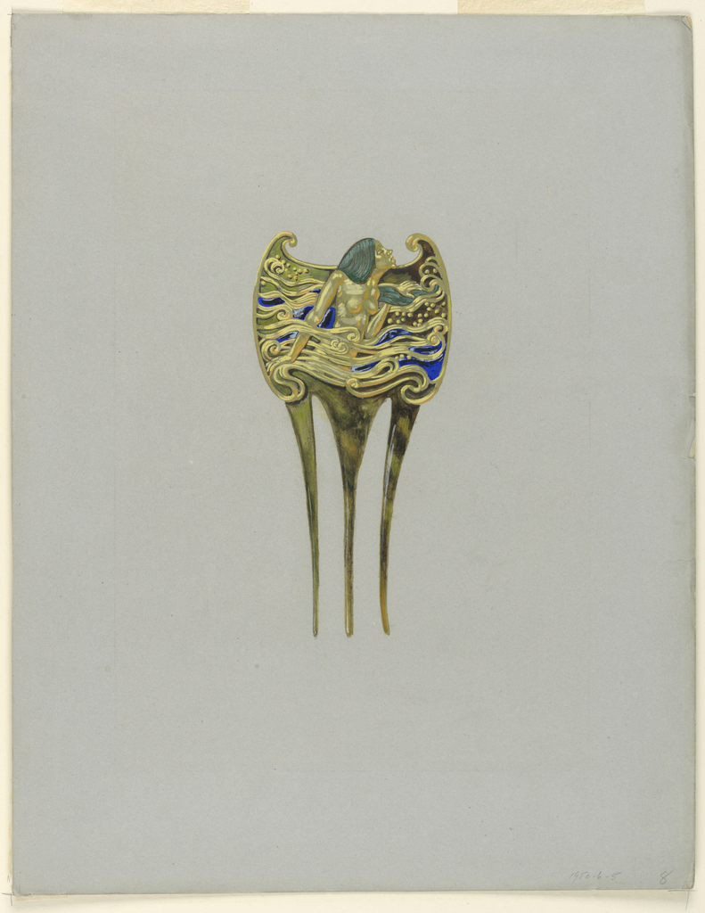 Design for a comb in gold and enamel.  The upper part represents a nude figure of a woman rising from the waves.