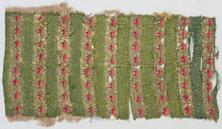 Mughal-type embroidery fragment with alternating rows of red-orange flowerheads and green and metal thread herringbone stripes.