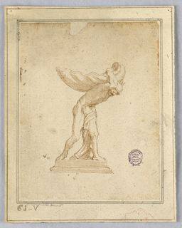 Elevation of a dish in the form of a shell being held on the back of a bearded man standing on a stepped plinth. Triple framing lines.