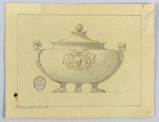 Tureen with human feet. A caryatid on each side. At center, a portrait medallion with bow knot. Finial.