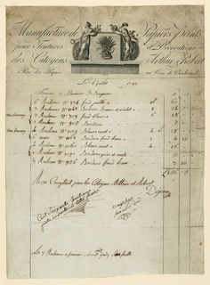 """Bill from wallpaper firm of Arthur et Robert listing wallpaper consigned to """"Monsieur de Bagneur,"""" 6 July 1793; 9 different serial numbers of wallpaper are listed. Below, is written: """"Recu Comptant pour les Citoyens Arthur et Robert"""" and signed """"Dejeail."""" Attached to the bill on the back is a scrap with notes referring to a bed and other furniture. Bill head reads: Manufacture de Papier peint pour Textures et Decorations des Citoyens Arthur et Robert. Rue des Piques au Coin de Boulevard."""""""