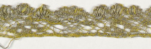 Gold lace border with one scalloped edge. Above scallops are areas of openwork, and a section with six closely-woven blocks. In yellow silk and metallic thread.