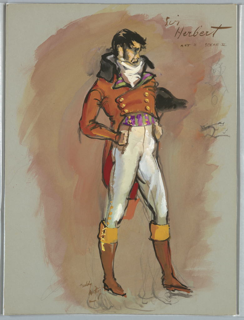 Vertical rectangle. Man in reddish-orange coat, white breeches, brown boots with yellow tops, Napoleonic style hat under left arm.