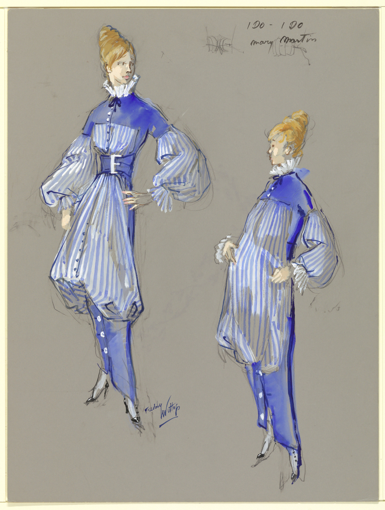 Vertical rectangle. Two versions of same costume. Woman, left, in blue and white striped belted dress. Figure, right, unbelted.