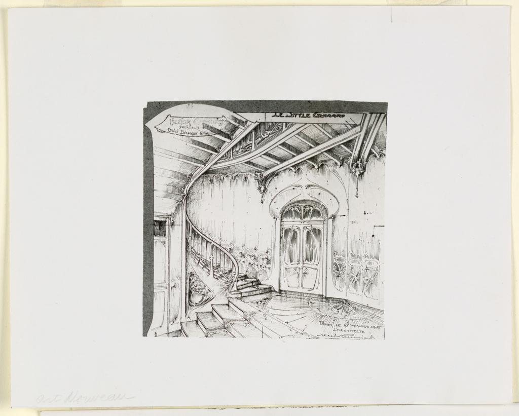 Photograph, Photograph of Drawing: interior of Castel Beranger, 1905