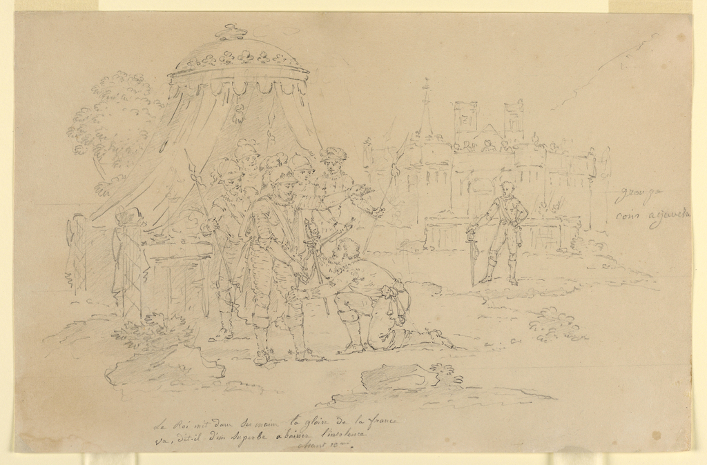 Island scene from Voltaire's epic.  Henri the IV before his tent on the field of battle, outside the walls of Paris, counsels the Chevalier d'Aumale before his duel with Henri, Vicomte de Turenne (Canto X, lines 48-49).
