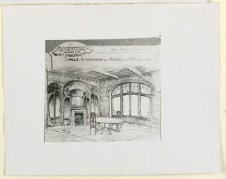 Photograph, Photograph of drawing: Salle a manger du Castel D'Orgeval, 1904