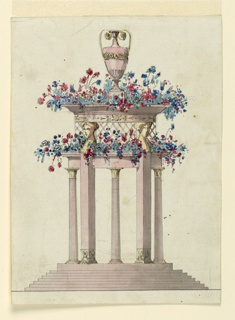 Vertical rectangle. A circular base is supported by seven steps. Above rise alternately a column and a female hermae; the first supports the rim of the lower receptacle, the second the upper one, a trellis connecting both. Above is a vase, flowers are in both receptacles.