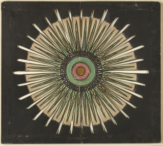 Magic lantern slide, optical toy. On black field, yellow disk at center, surrounded by pink, green, and black circles alternating with circles of pierced stars and dots. Radiating toward circumference, thirty-two pierced rays alternating with thirty-two white rays set with triangular green rays pierced in serpentine forms.