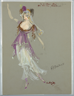 Vertical rectangle. Woman in Gauzy violet, brown and pink dress, ballet slippers, veil and headdress.