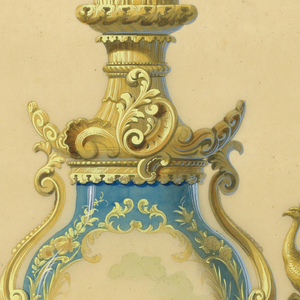 The body of the lamp is a blue porcelain vase, with a central field depicting a young girl seated in a landscape, enclosed by a gold foliated frame. Mounted on a rocaille bronze base, flanked by handles with peacocks, surmounted by a fixture intended to hold a glass globe.