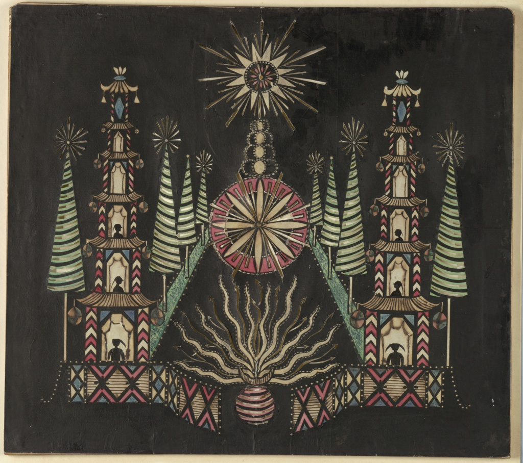 Magic lantern slide, optical toy. On black field, pagodas hung with lanterns at left and right, with silhouetted figures in three lower stories. A star at top center, a rayed wheel in center below, and at bottom center a sphere from which fly serpentine fireworks. Representation of a garden, with pyramidal pine trees. White, yellow, green, blue, and red transparencies.