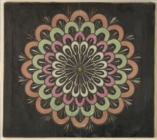 Magic lantern slide, optical toy. On black field, pierced rays, with four concentric circles composed of deep scallops that from center outward are white, pink, green, and orange. Yellow star at center.