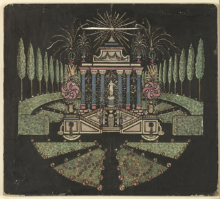 Magic lantern slide, optical toy. On black field, garden pavilion on high basement; six blue columns in main story, with female statue on pedestal in center intercolumniation. Attic story crowned with set of fireworks with cipher in center. To right and left, foliage, tall trees, and pin-wheel fireworks. Parterre in foreground.