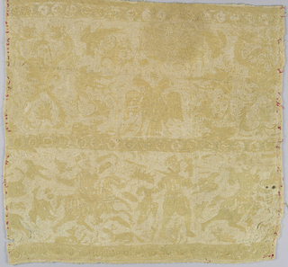 Textile fragment with yellow silk embroidered on a natural cotton ground. Design showing three horizontal bands of scrolls,  a double-headed eagle, dragon-headed scrolls, perching birds, hunters with muskets, and men on horseback.