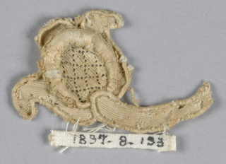 Fragment with small tulip-like bud and stem. Central diamond diaper design.