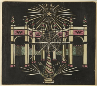 Magic lantern slide, optical toy. On black field, semicircular arcade with straight returns, crowned with pyramidal decorations in white, pink, and green. Above, star in white with white and open pierced radiations. Receding rows of hedge, in green with pink flowers. Before the arcade, elabroate fireworks, a pyramid, and two serpents with rays of light radiating from their mouths.