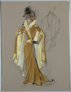 Vertical Rectangle. Woman in tan costume, long skirt, cape effect at back, fur collar, lace and feather hat. Rear view sketch, right. Verso: Ethel Berger.