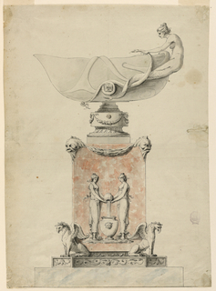 The pedestal stands upon a base. It is supported at the corners by obliquely disposed griffins. A relief at its front shows two girls pouring water from a jar into an urn. Dolphin masks support festoons above. The bowl has a foot. One side of it is pointed, a mermaid is shown at the opposite one holding snakes.