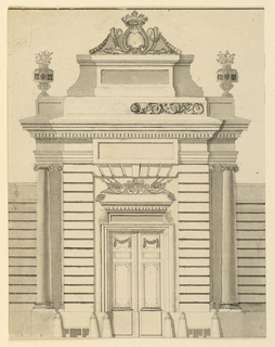 Rustic central section with a closed folding door and a trophy as an overdoor. Stone posts and benches stand before the dado. The receding corners are formed by Ionic columns. Over the entablature is an attic with flower vases at the corners. A pedestal rises in the center topped by an escutcheon. Rinceaux decoration is suggested for the central section of the attic, in the right half. Short, lateral wings are shown measurements are inscribed in the left ones.