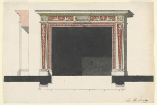 Horizontal rectangle. Design for a chimney piece intended to be executed in marble with mosaics and bronze appliques. Laterally are two pillar stripes on either side, that in front having the shape of a terminus. It is framed by a moulding, as is the border which frames the opening on three sides. The terminus is decorated with a plant candelabrum with a swan on top, the border by garlands of calyces. The ornaments are white upon red ground. Above the termini and in the middle of the frieze are framed mosaics, representing landscapes. The two panels in between are decorated with a pair of sphinxes crouching symmetrically beside a vase. Their tails end with acanthus spirals. At left is the section, below is the plan, the scale, and an inscription.