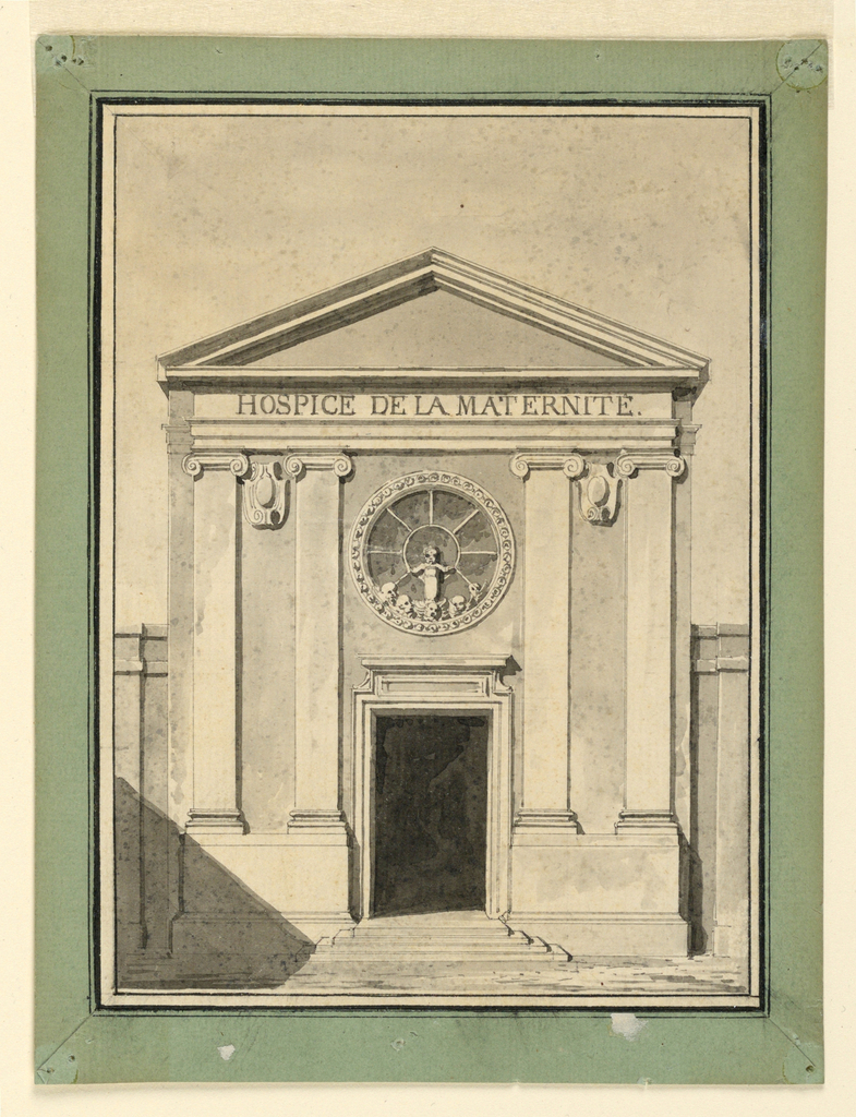 Two pairs of pilasters of Ionic order support the entablature. Triangular pediment. The corners of the facade recede. Circular, wheel-like window with elaborate frame over the door. A baby rises over five cherubim in the bottom part. Framing lines and green paper strip.