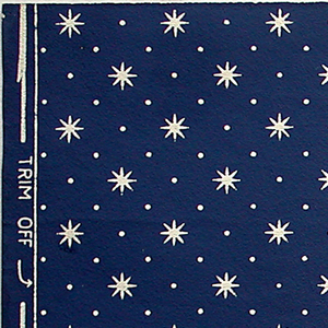 Regularly spaced small white stars and dots on dark blue ground.