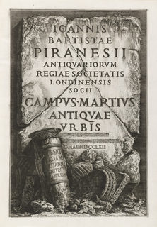 Frontispiece depicts large stone slab that has been inscribed with book's title. Below, ruined column, upon which is a dedication inscription, and its capital.