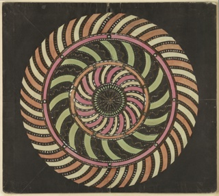 Magic lantern slide, optical toy. On black field, pierced disk at center, surrounded by three large and nine smaller concentric circles. Large circles banded with radiating arcs curved alternately clockwise, counter clockwise, and clockwise; pink and white, green and orange and white.