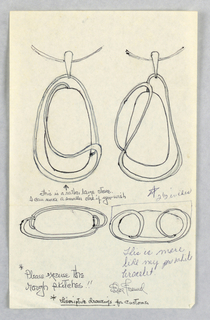 Drawing, Design for Two Pendants and Two Pins, ca. 1960–65