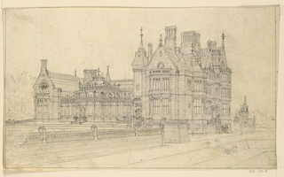 Drawing, Gothic Country House: Garden Facade, ca. 1875