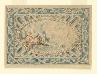 An oval medallion showing shepherdess and shepherd.