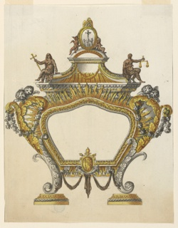 Vertical rectangle. Design for an altar tablet with curved outlines, supported by two volutes of leaves standing upon bases. Below, in the center of the frame, the coat of arms of Pope Pius VII. Cherubim are on top of the volutes at the sides. Above an elaborated pediment, with allegorical figures of Faith and Justice sitting and on the top a relief with Christ on the cross, with the Virgin Mary, St. John, and St. Magdalene. The relief is supported by two angels and has a pelican at the top.