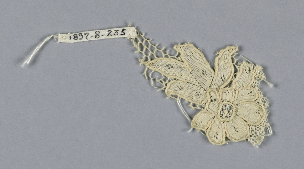 Fragment of Argentan lace with a flower and leaves. Small piece of ground remains.