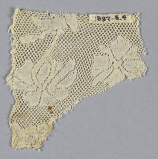 Fragment of Valenciennes lace has a floral design with round mesh.