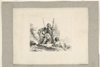 Print, Three Soldiers with a Young Boy, from the Vari Capricci, 1740–1743
