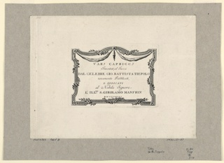 Print, Titleplate with decorative border to the 1785 re-issue of the 'Vari Capricci', 1785