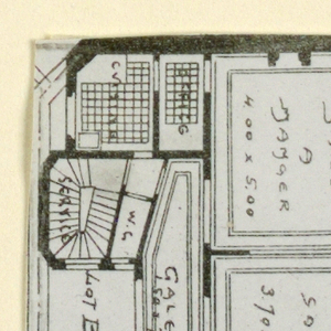 Photograph of one of the floor plans of an apartment building designed by Hector Guimard, belonging to a series of photographs documenting his architecture.