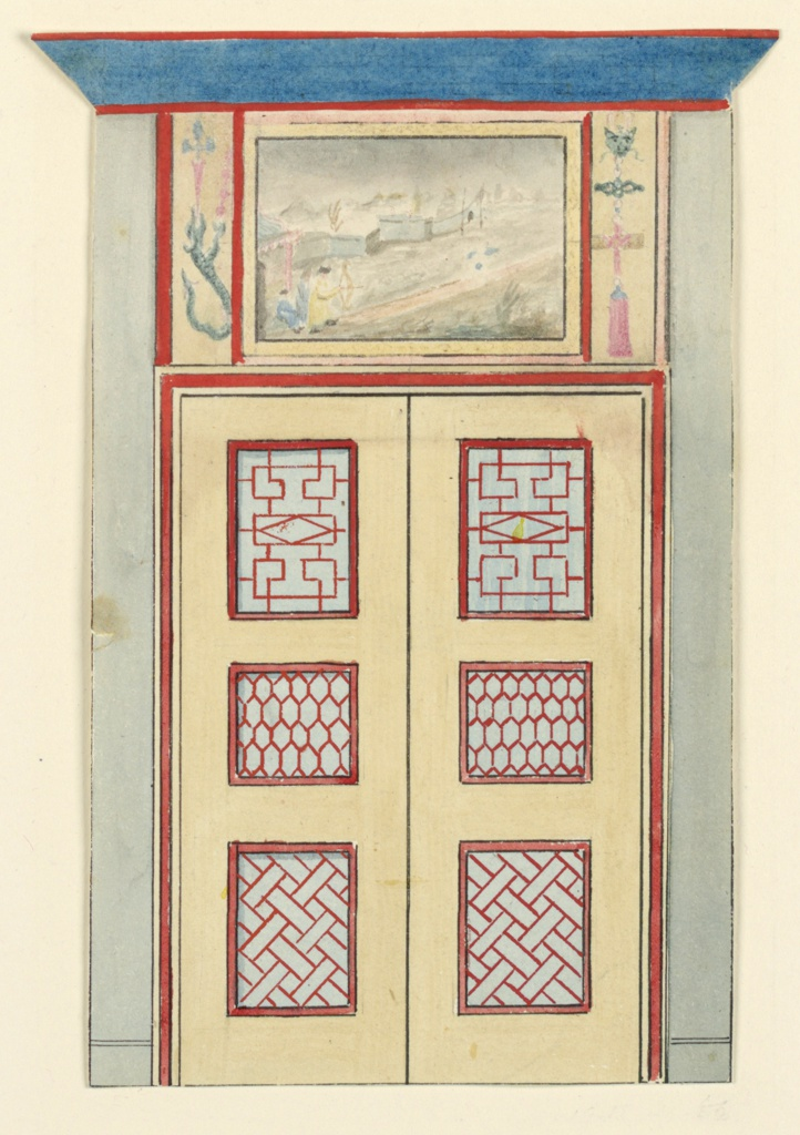 Vertical rectangle. Design for the Royal Pavilion, Brighton. Design for a section of a wall, with double-doors bearing painted panels of lattice-work design and geometric pattern. The over door consists of a painting of Chinese figures in a landscape.  Original album associated with this collection still exists.  See 1948-40-1 accessory